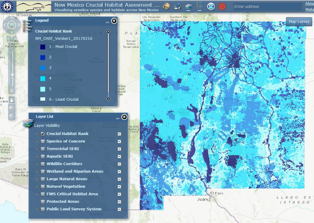 New Mexico Crucial Habitat Assesment Tool