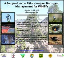 Poster for Pinyon-Juniper Status and Management for Wildlife Symposium